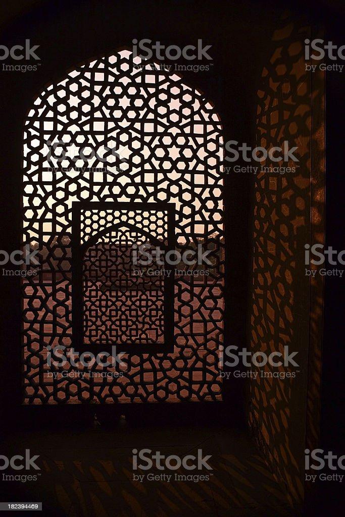 Marble screen window in Humayun's Tomb royalty-free stock photo