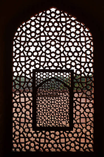 marble screen window in humayun's tomb - crypt stock pictures, royalty-free photos & images