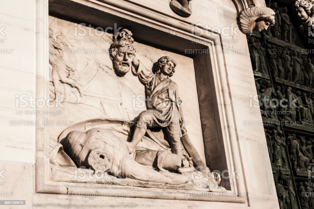 Marble sculpture of the Milan's Cathedral (Italy) stock photo