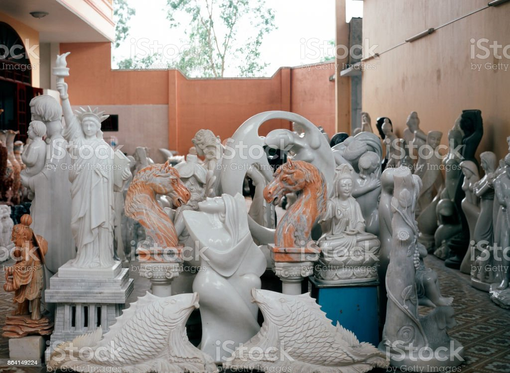 A marble sculpture store in Saigon, Vietnam royalty-free stock photo