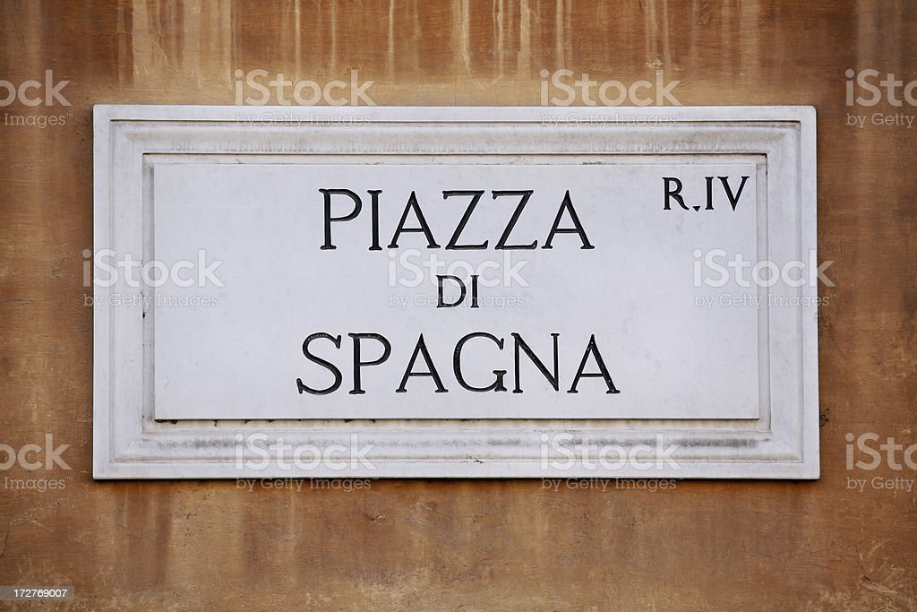 Piazza di Spagna marble sign royalty-free stock photo