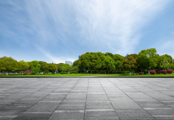 plaza de mármol frente a densos bosques del parque de la ciudad bajo el cielo despejado - ciudad fotografías e imágenes de stock