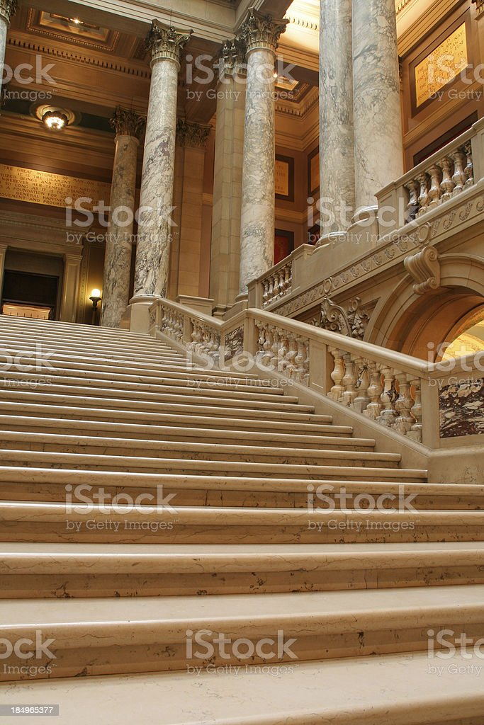 Marble Staircase and Columns, Minnesota State Capitol Interior, St. Paul stock photo