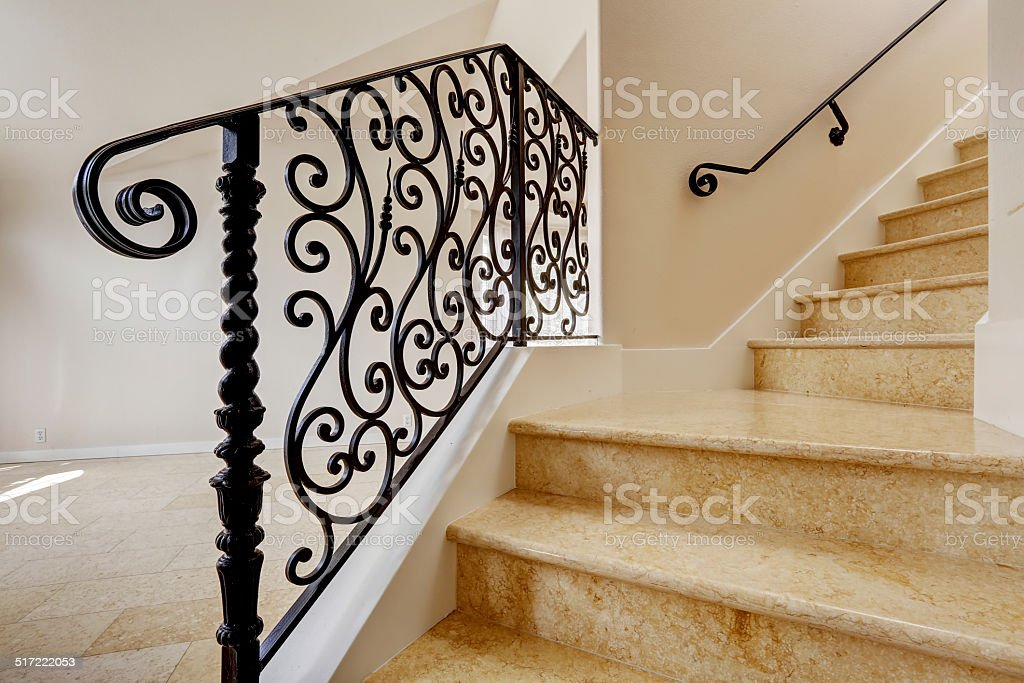 Marble Staircase With Black Wrought Iron Railing Stock Photo Download Image Now Istock