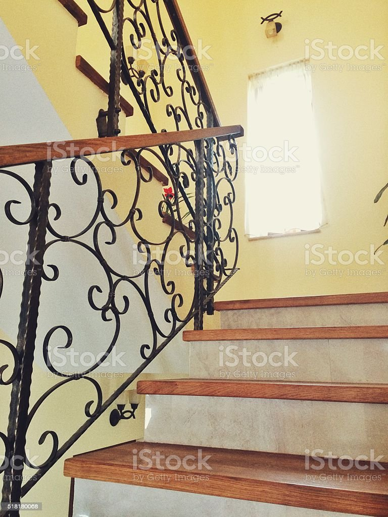 Image of: Marble Staircase With Black Wrought Iron Railing Stock Photo Download Image Now Istock