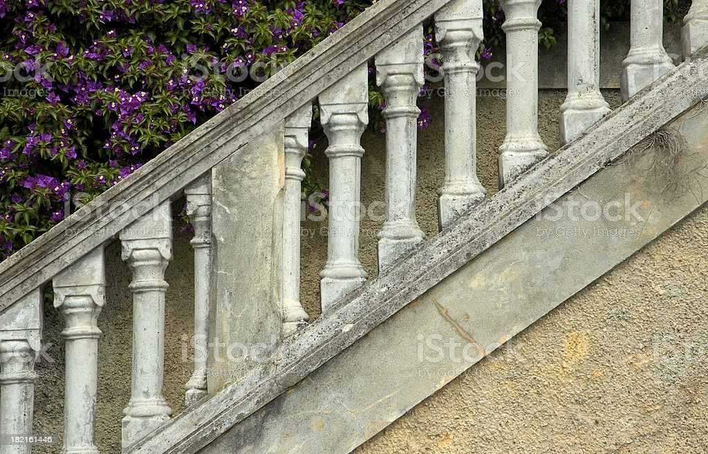 Marble stairs, columns, and plants. stock photo