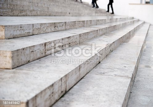 marble stairs perspective with people in the background