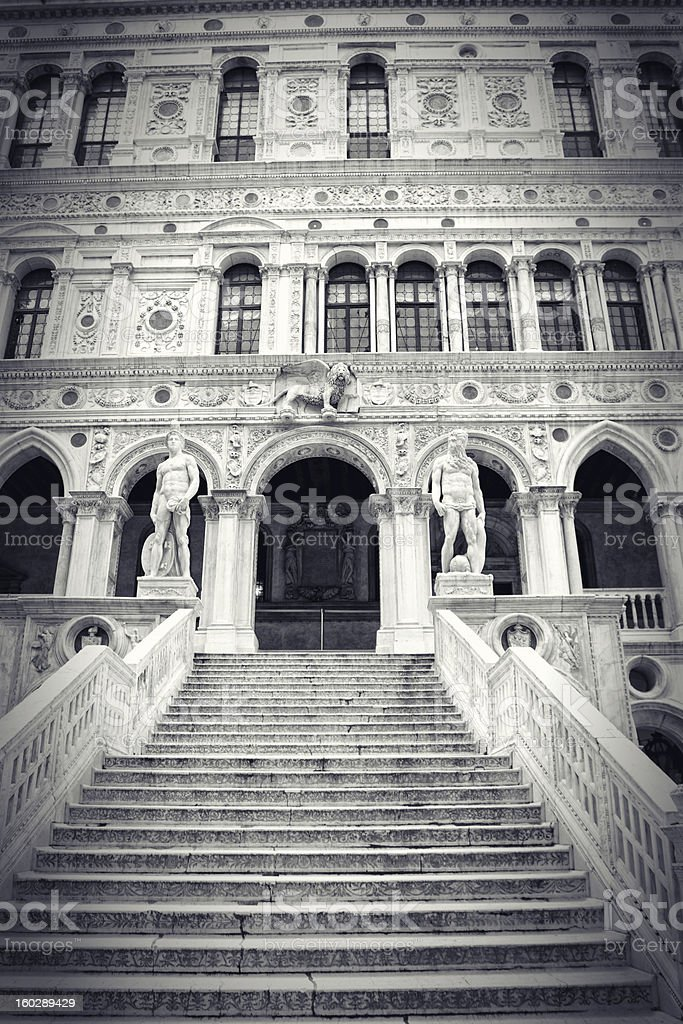 Marble stairway in the yard of Palazzo Ducale royalty-free stock photo