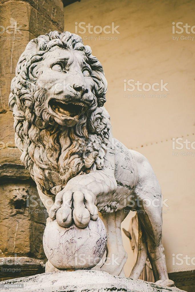 Marble Statue of a Lion in Piazza della Signoria, Florence stock photo