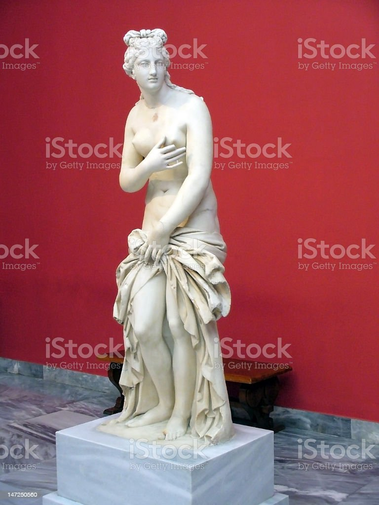 Marble statue of Aphrodite standing up stock photo