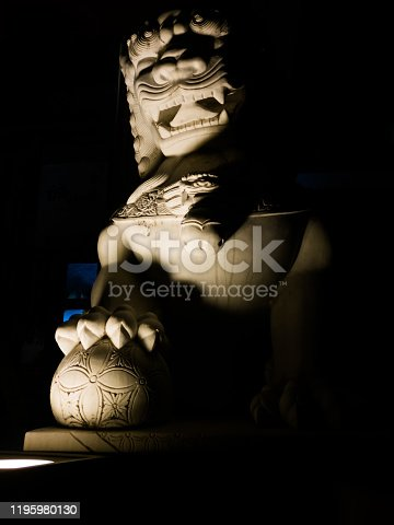 Marble statue of Asian-style mythical lion. China
