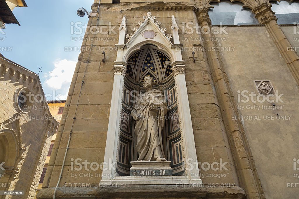 Marble statue of St.Peter (Guild of Butchers), Orsanmichele church, Florence stock photo