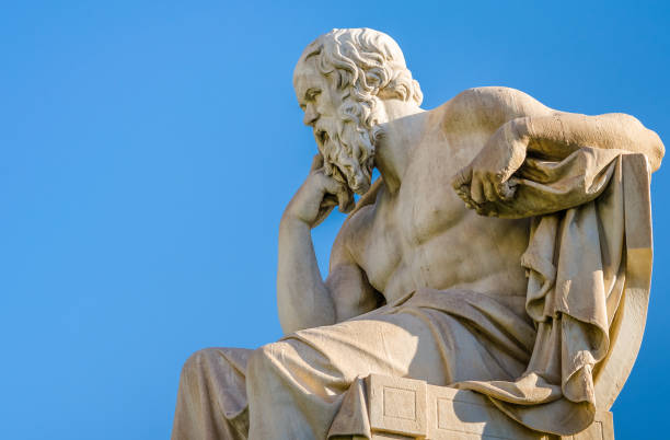 Marble statue of the Great ancient Greek philosopher Socrates. stock photo