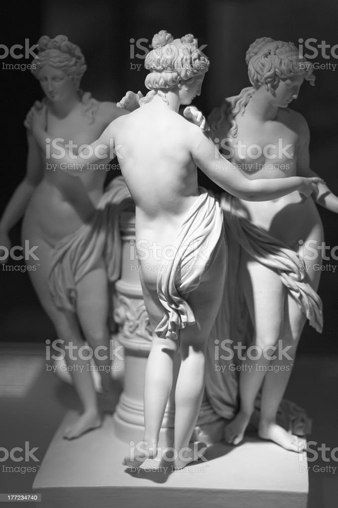 Marble statue of three naked women royalty-free stock photo