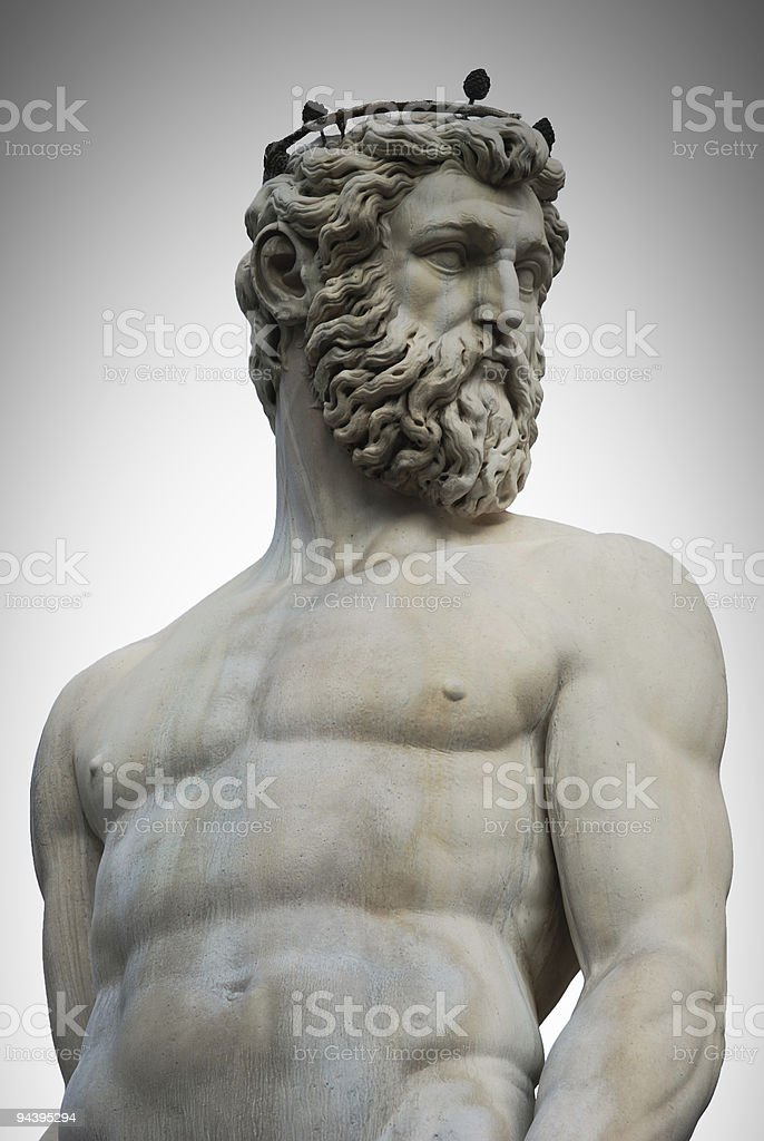 Marble Statue portrait of Nettuno stock photo