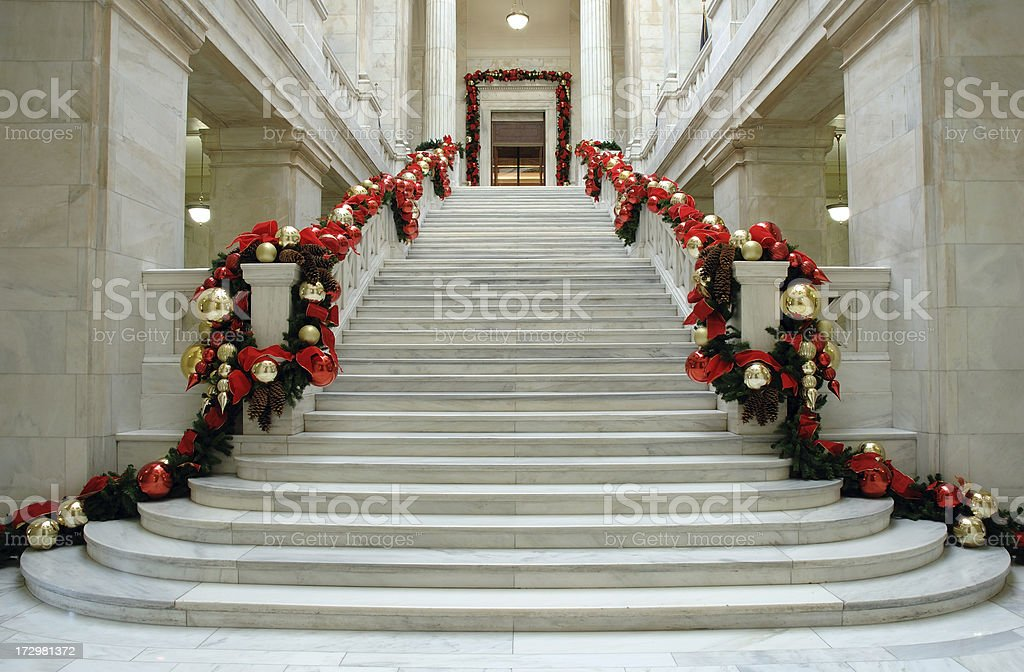 Marble Steps at Christmas stock photo