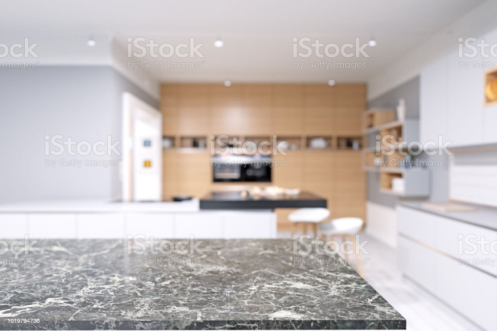 Marble Table And Blurred Modern Kitchen Stock Photo Download Image Now Istock