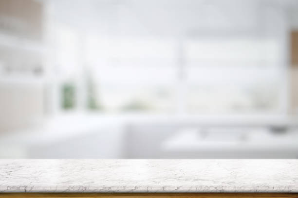 marble table top counter in kitchem room background - kitchen counter imagens e fotografias de stock