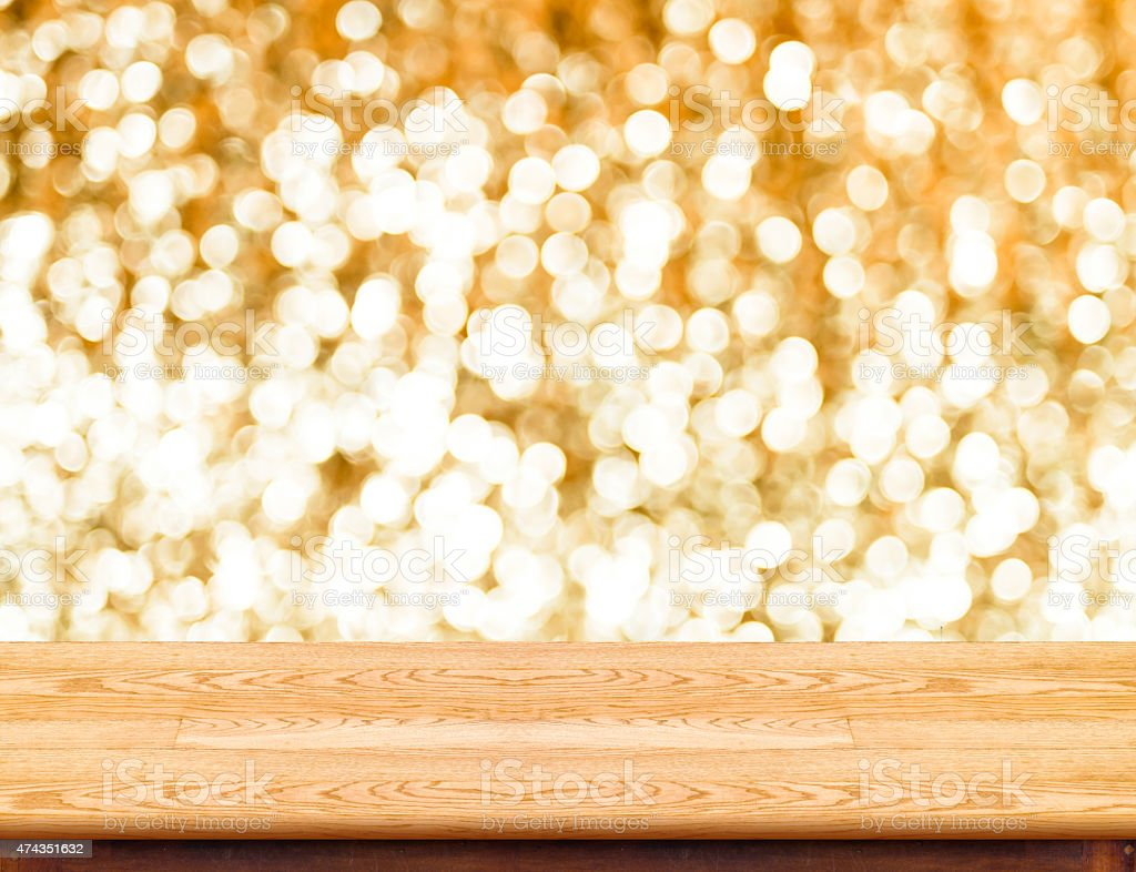 marble Table with bokeh golden sparkling background,Empty room f stock photo