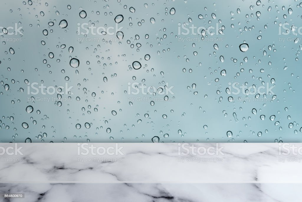 Marble Table With Water Drops On Glass Texture Background Stock