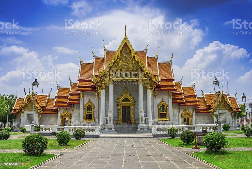Marble Temple in Bangkok stock photo