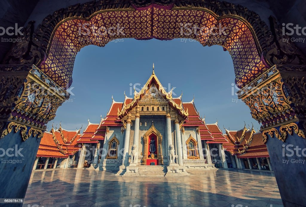 Marble temple in Bangkok stock photo