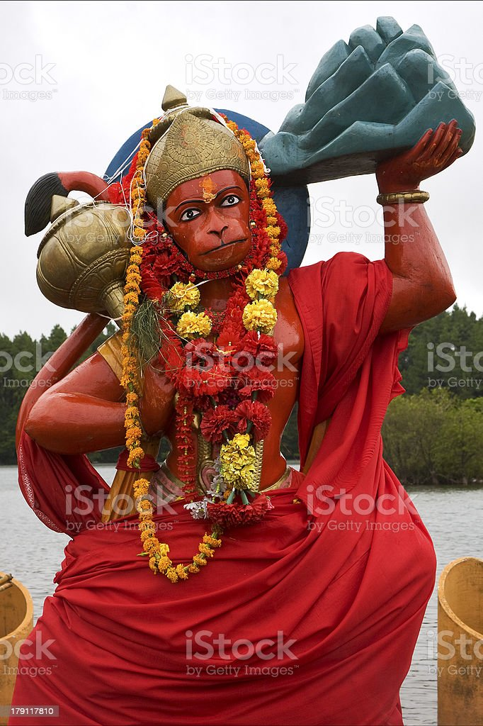 marble wood statue of a Hinduism  monkey royalty-free stock photo