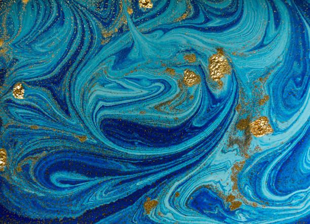 Marbled blue and golden abstract background. Liquid marble pattern – zdjęcie