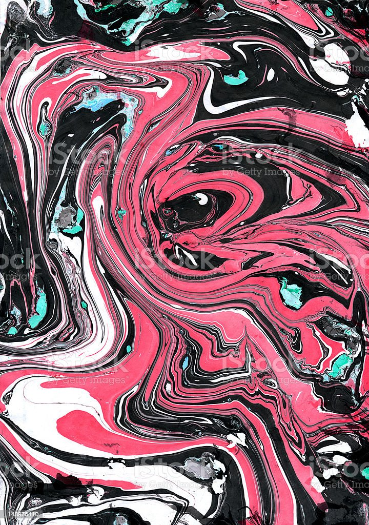 Marbled paper pattern, pink and black with green highlights royalty-free stock photo