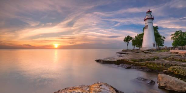 Marblehead Lighthouse on Lake Erie, USA at sunrise stock photo