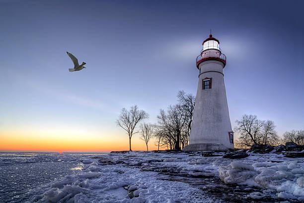 Marblehead Lighthouse Sunrise stock photo