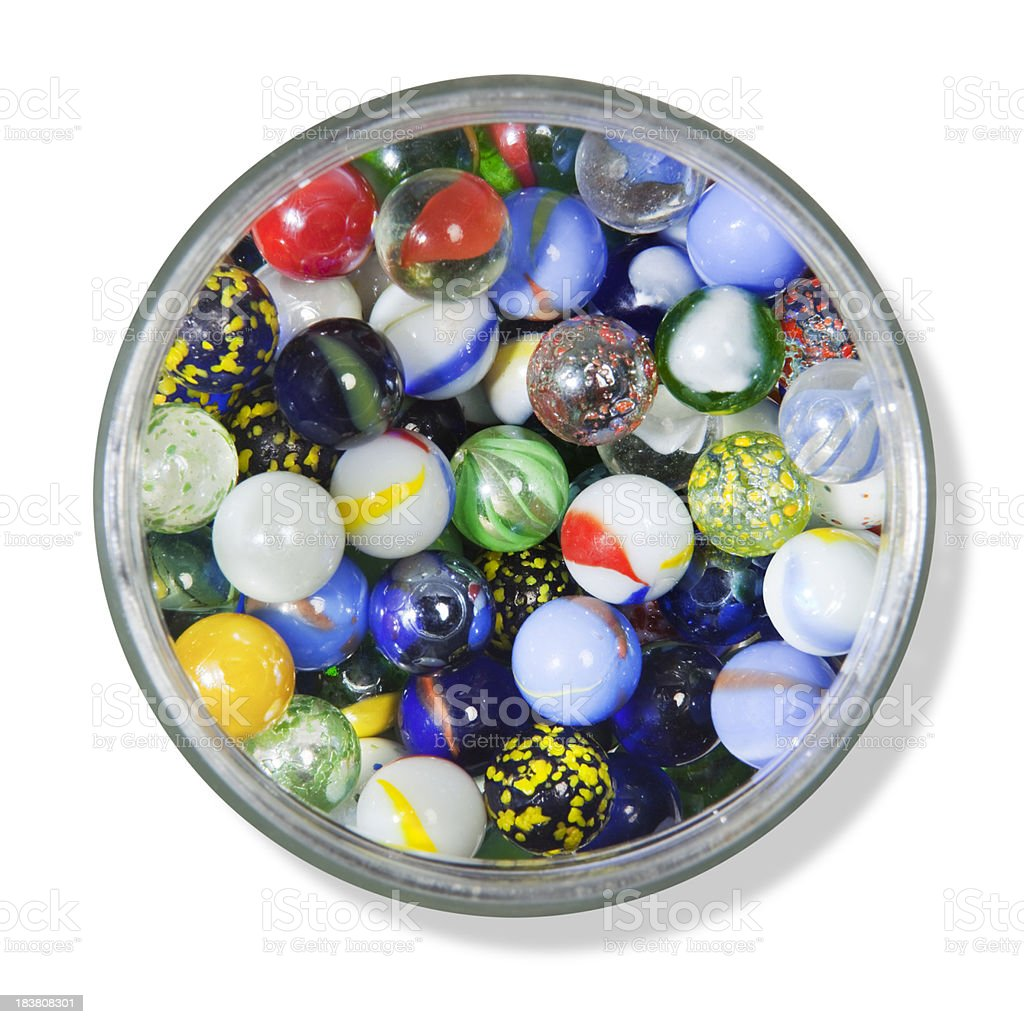 Marbles in Jar stock photo