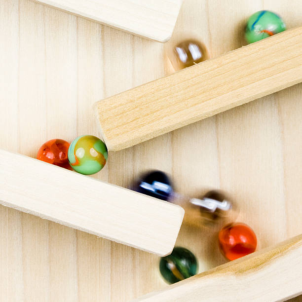 Marbles on Wooden Toy stock photo