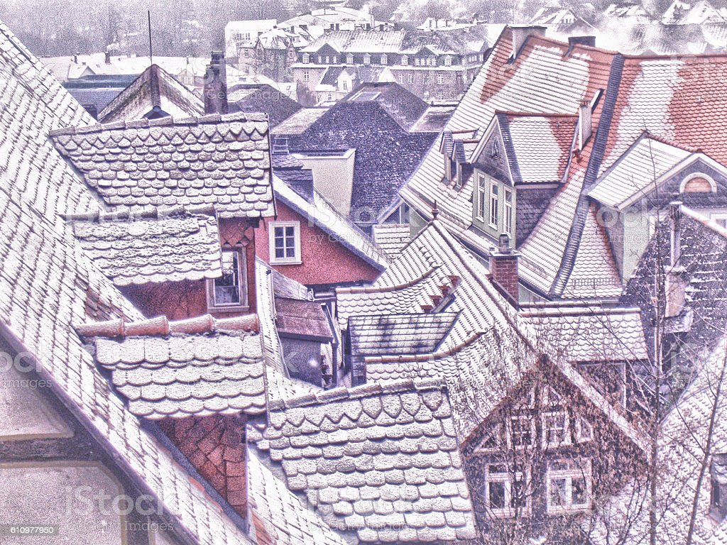 Marburg Rooftops stock photo