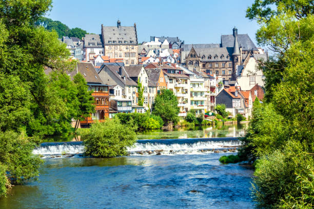 Marburg with River Lahm in Germany stock photo