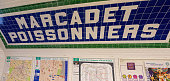 Paris, France - October 29, 2017: Marcadet Poissonniers metro station sign. Subway in Paris, France.