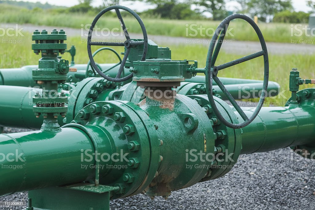 Marcellus Shale Gas Pipeline Header stock photo