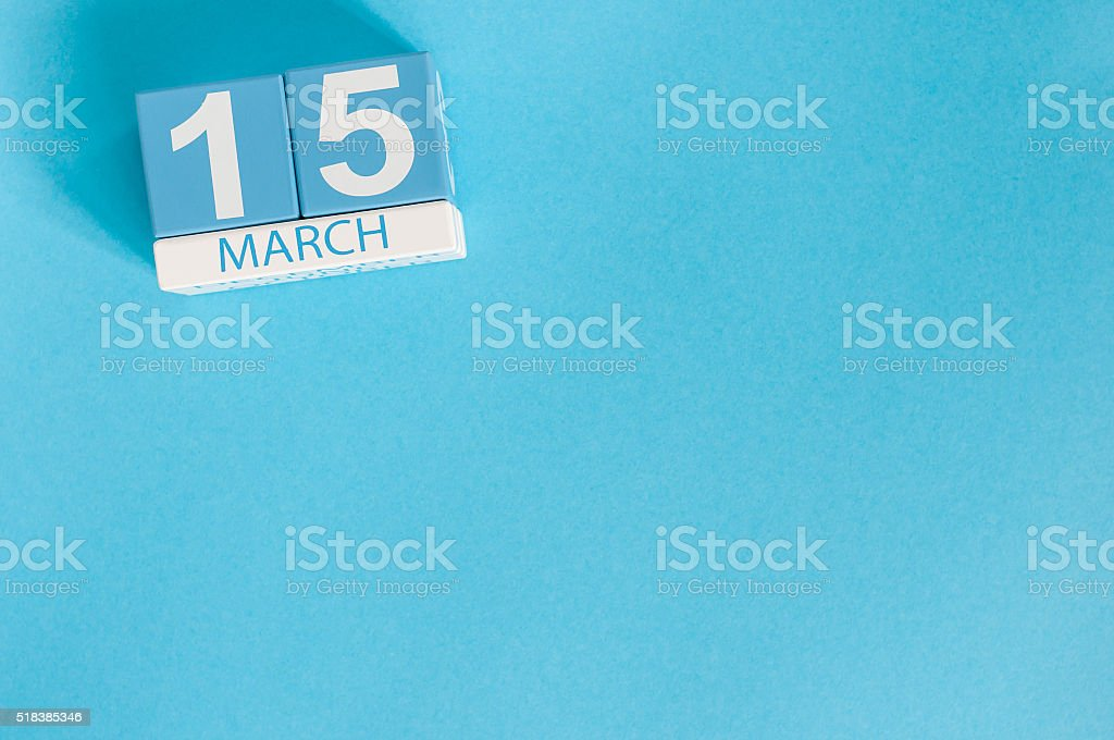March 15th. Image of march 15 wooden color calendar on stock photo