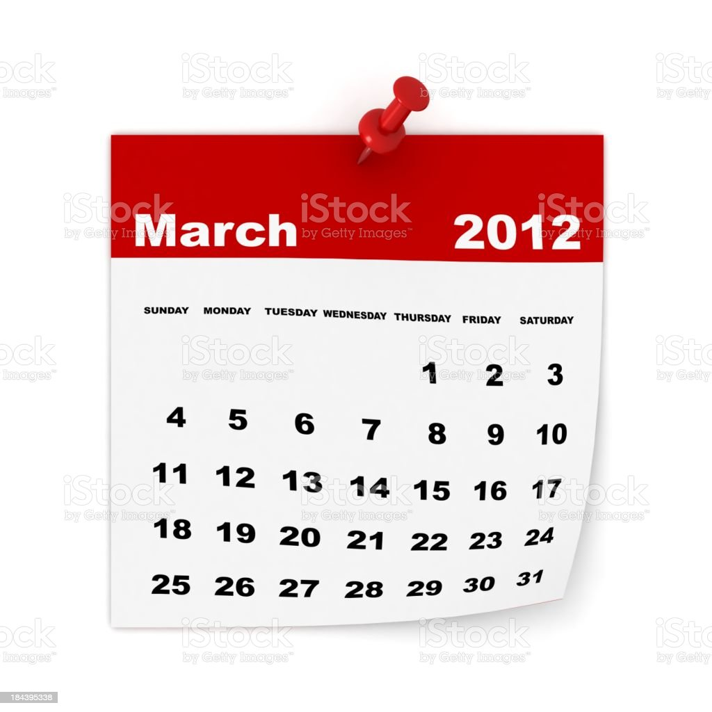 March 2012 Calendar royalty-free stock photo