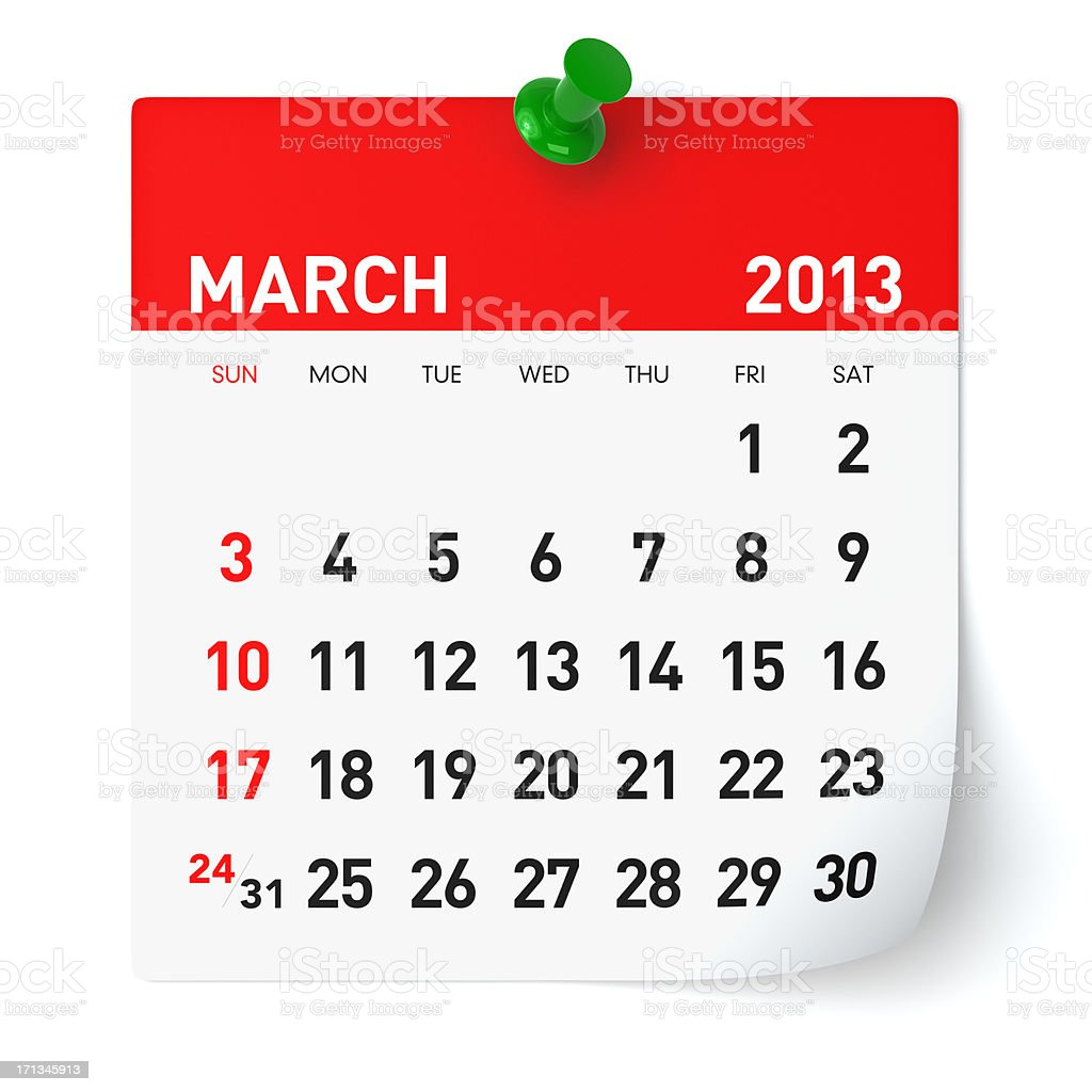 March 2013 - Calendar royalty-free stock photo