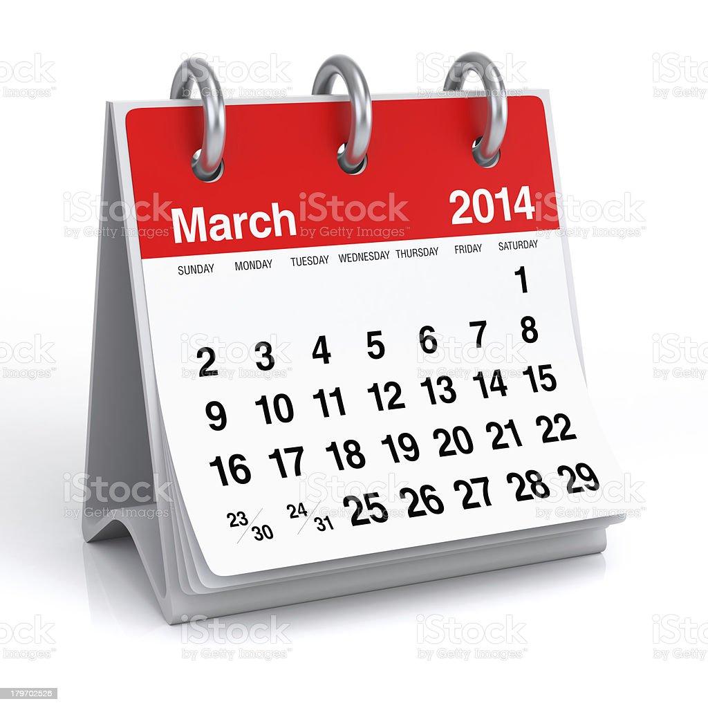 March 2014 - Calendar royalty-free stock photo
