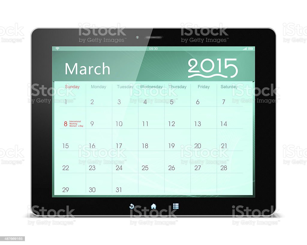 March 2015 Calender on digital tablet royalty-free stock photo