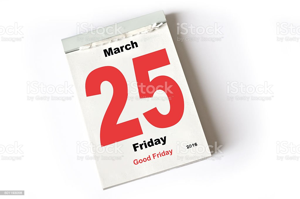 25. March 2016 Good Friday stock photo