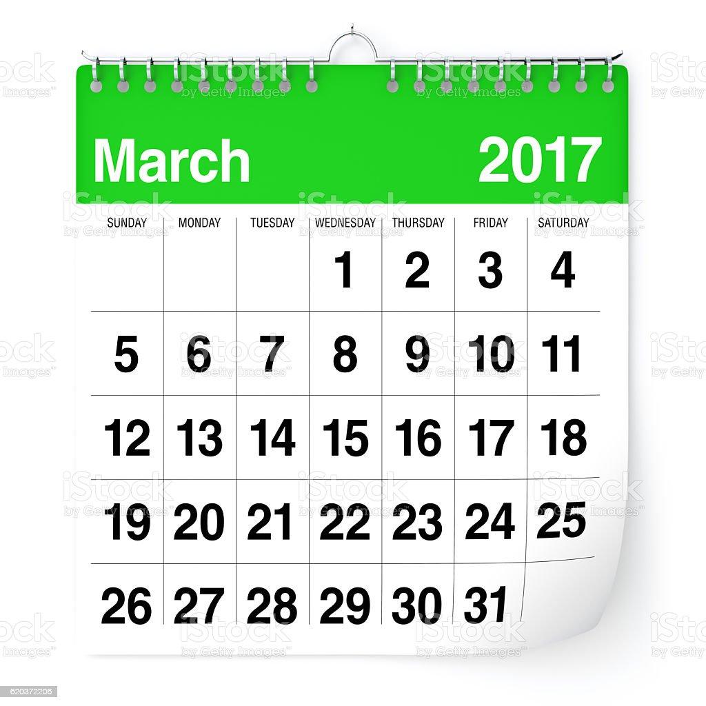Marca 2017 - kalendarz zbiór zdjęć royalty-free