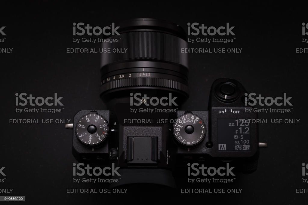 BANGKOK - THAILAND : 31 March 2018 : New Fujifilm flagship mirrorless digital camera body X-H1 launched in 2018 with XF 56mm F1.2 lens in studio. stock photo