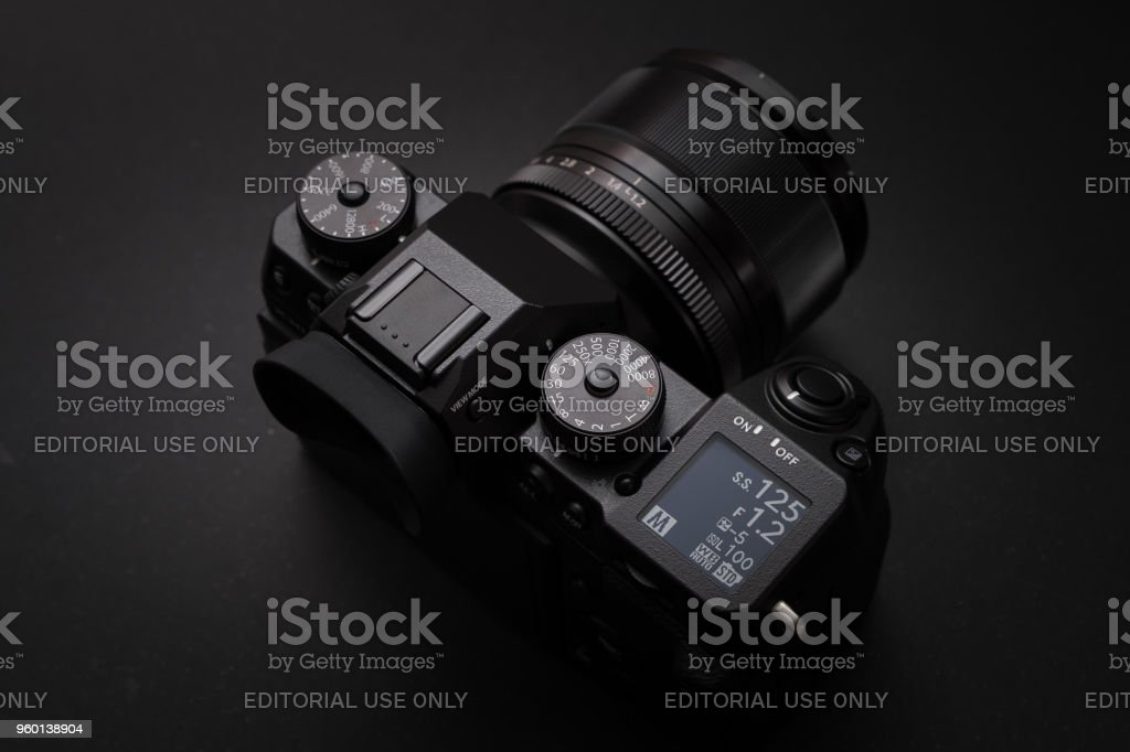 BANGKOK - THAILAND : 31 March 2018 : New Fujifilm flagship mirrorless digital camera body X-H1 launched in 2018 with XF 56mm F1.2 lens in studio stock photo