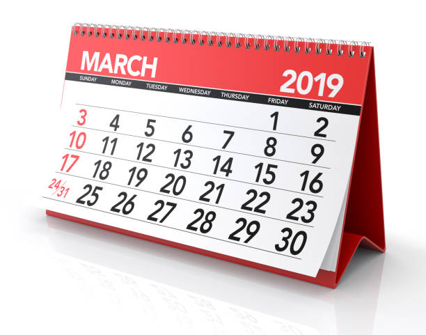 agenda maart 2019. - maart stockfoto's en -beelden