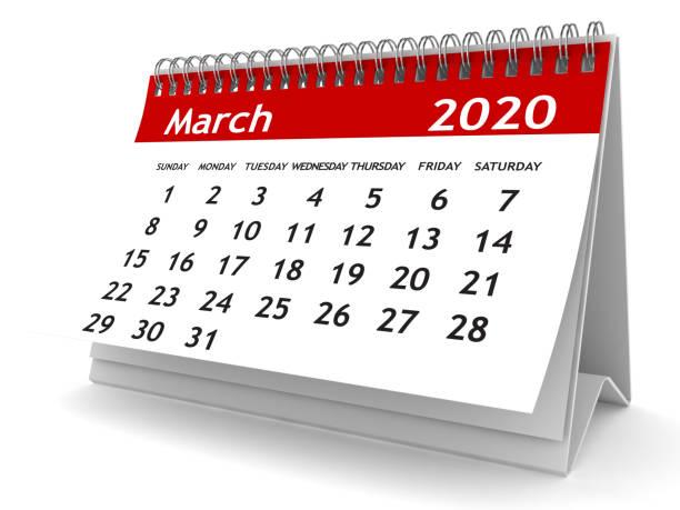 maart 2020 kalender - maart stockfoto's en -beelden