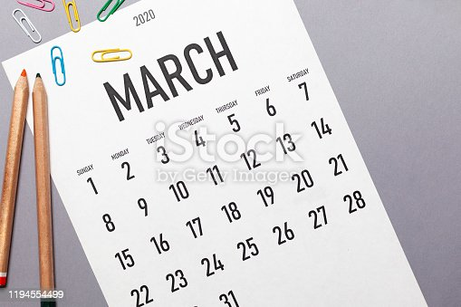 March 2020 2020 simple calendar with office supplies and copy space