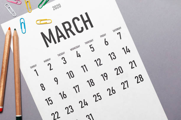 calendrier simple de mars 2020 - mars photos et images de collection